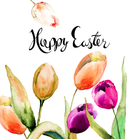 Greeting card with Tulips flowers, Watercolor painting, Hand drawn lettering and flowers design, inscription Happy Easter Stock Photo