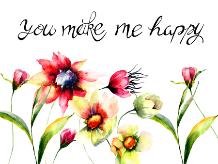 Colorful flowers with title you make me happy, watercolor illustration, Hand drawn lettering design