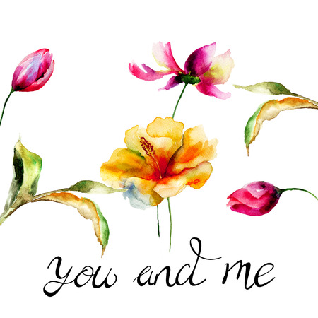Tulip and Lily flowers with title you and me, watercolor illustration, Hand drawn lettering design