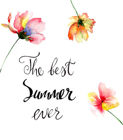 Decorative summer flowers with title the best summer ever, watercolor illustration, Hand painted drawing