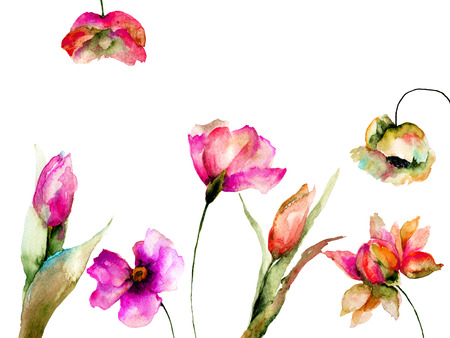 Template for greeting card with wild flowers, watercolor illustration