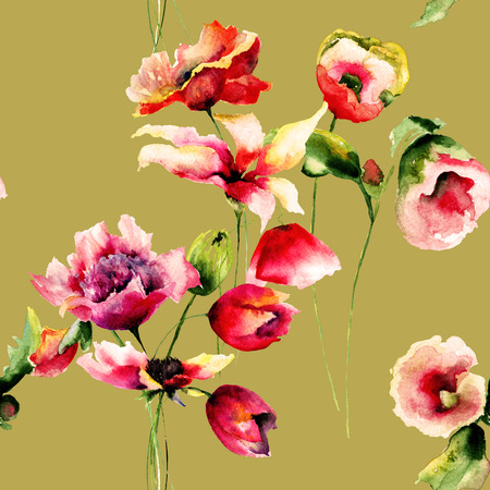 Floral Seamless wallpaper with Lily, Poppies and Tulips flowers, watercolor illustration  Stock Photo