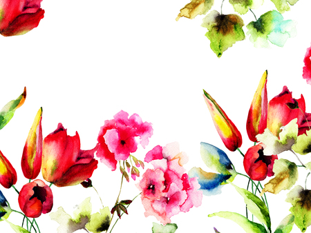 Template for greeting card with wild flowers, original watercolor illustration, Hand painted drawing