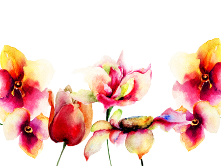 Template for greeting card with colorful flowers, Watercolor painting