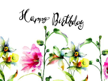 Spring flowers with title Happy Birthday, Watercolor painting, Hand painted drawing Archivio Fotografico - 102318890