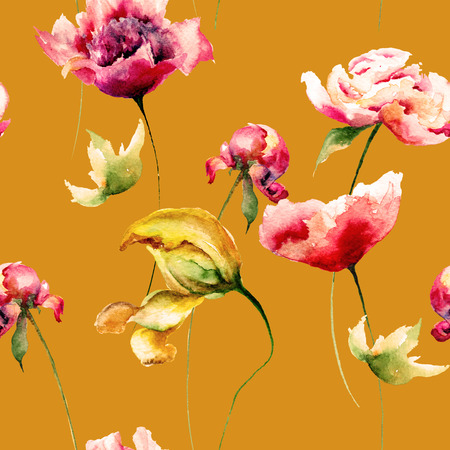 Floral seamless pattern with Tulips, Poppy and Peony flowers, watercolor illustration  Stock Photo