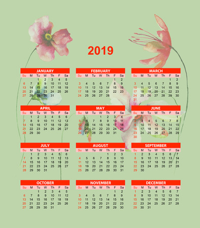 Template for calendar 2019  with original flowers watercolor illustration