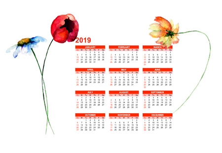 Template for calendar 2019 with watercolor illustration of flowers