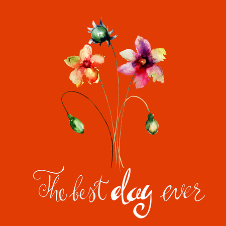 Beautiful flowers watercolor illustration with title the best day ever, Hand painted drawing