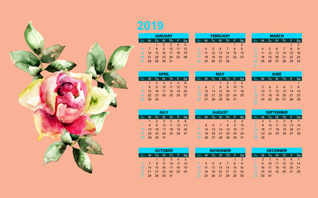 Red Peony flower with template for calendar 2019, watercolor illustration