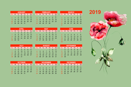 Template for calendar 2019 with Stylized Poppy flowers, watercolor illustration Stock Photo