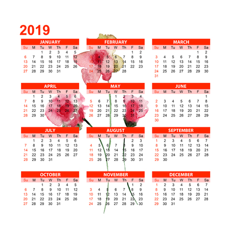 Template for calendar 2019 with Stylized Summer flowers, watercolor illustration Stock Photo
