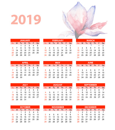Template for calendar 2019 with beautiful Magnolia flowers, watercolor illustration