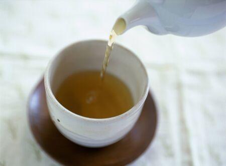 japanese tea: pouring japanese tea