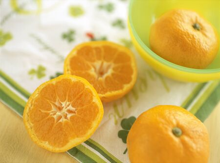 mandarin orange: satsuma mandarin orange Stock Photo