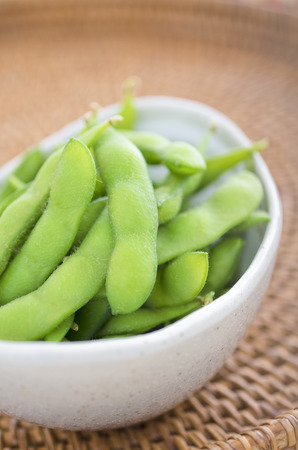 edamame in the white dish Stock Photo