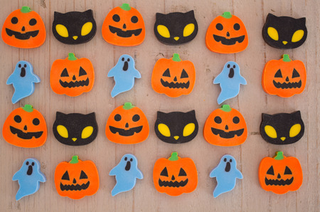 erasers: Halloween erasers over wooden table
