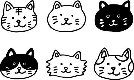 6 different cat face icons