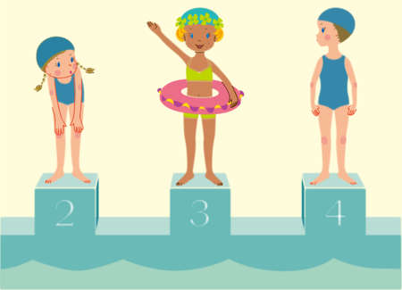 3 girls are on the poolside jumping boards