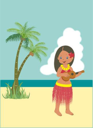 One hula girl is playing a ukulele on the beach with palm trees Illusztráció