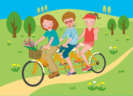 Three women on a three-seater bicycle