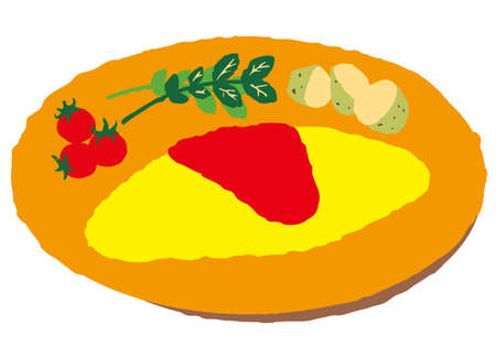An omelet with tomato ketchup, cherry tomatoes, watercress, and boiled potatoes on an orange plate