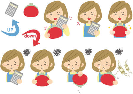 A set of facial expressions of a housewife holding a wallet and a calculator