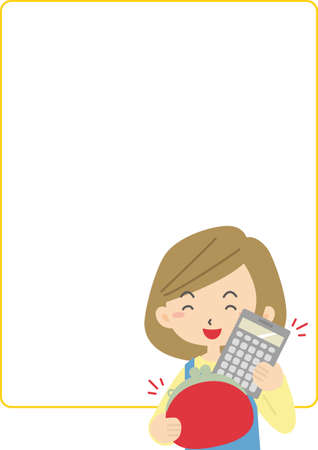 Frame with smiling housewife with calculator and wallet