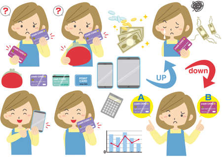 A collection of facial expressions of a housewife who suffers from household budget
