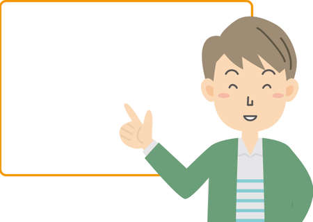 Young man explaining with speech bubble