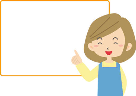 Young woman explaining in apron using speech bubble