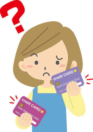 Woman who gets lost with two credit cards Ilustração