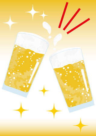 Image toasting with beer on a sparkling background