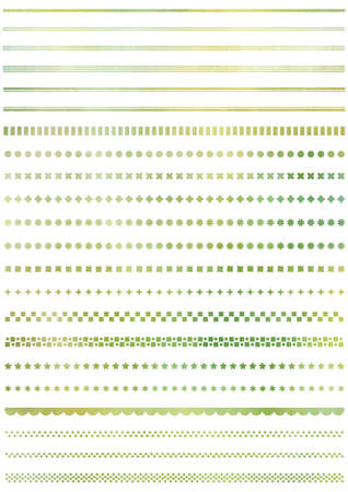 Set of borders in watercolor style material / green