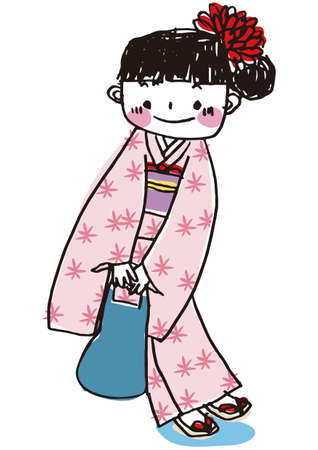 """A girl wearing traditional Japanese clothes """"kimono"""""""