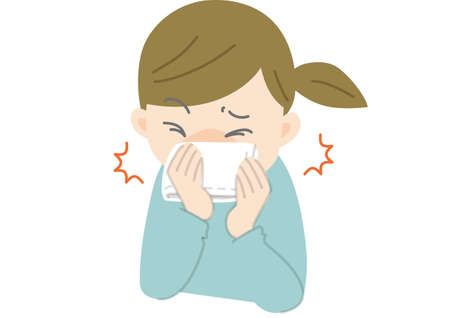 Cough or sneeze with a handkerchief Stockfoto - 137836682