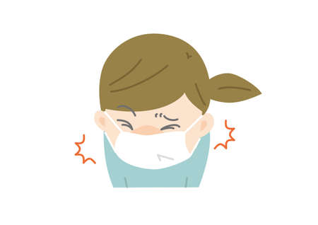 Cough and sneeze with a mask 向量圖像