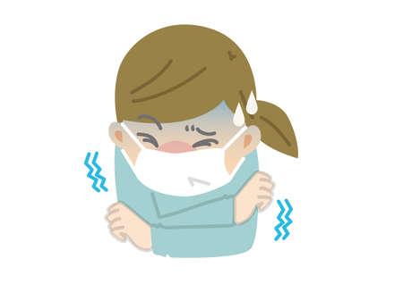 Schmerzhafte Frau mit Erkältung und Gelenkschmerzen