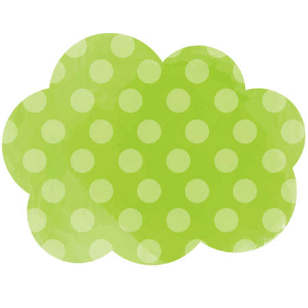 Green, polka dot-patterned cloud-shaped design