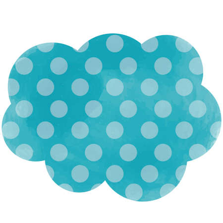 Turquoise tag with polka dots in the form of clouds