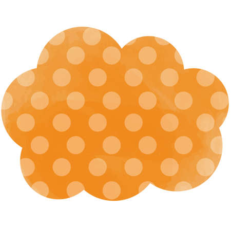 Orange tag with polka dots in the form of clouds 向量圖像