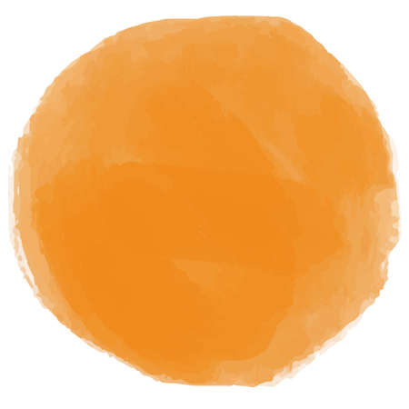 a round orange with watercolor style