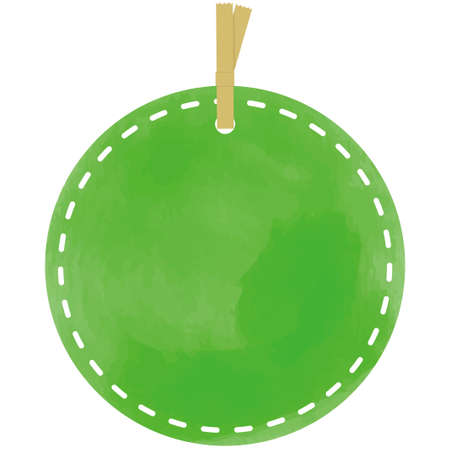 Green round tag in watercolor style 向量圖像