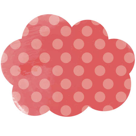Cloud-shaped design of polka dots in red