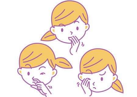 Illustration of Female Face Touching Eyes, Nose and Mouth with Hands