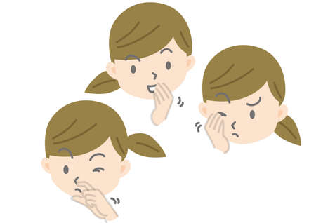 Illustration of Female Face Touching Eyes, Nose and Mouth with Hands 向量圖像