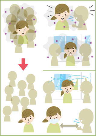 Infectious disease mass infection illustration set