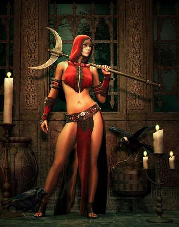 guerrero: Un guerrero-mujer y dos cuervos dentro de una escena de fantas�a Foto de archivo