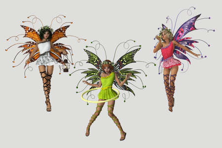 3 cute fairies in different poses and several colored dresses  photo