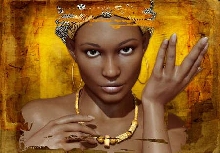 ilustraciones africanas: Retrato de un joven africano